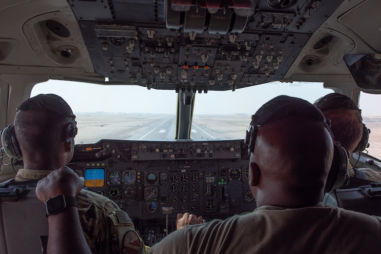A 908th Expeditionary Air Refueling Squadron KC-10 Extender aircrew returns to Al Dhafra Air Base, United Arab Emirates Aug. 6, 2019. The crew supported F-35A Lightning II's participating in exercise Agile Lightning as well as refueled another KC-10. (U.S. Air Force photo by Staff Sgt. Chris Thornbury)