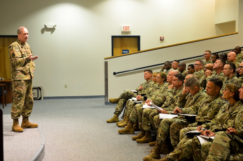 Maj. Gen. Greg Mosser, 377th Theater Sustainment Command commanding general, lays out his initial guidance on taking care of Soldiers while building and maintaining readiness shortly after taking command of the unit at Naval Air Station Joint Reserve Base New Orleans, August 3, 2019.