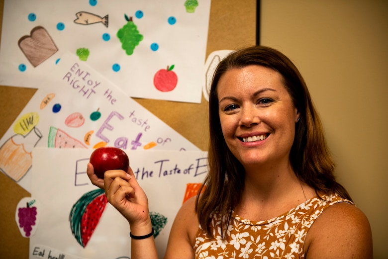 Sandra Stuart, 23d Medical Group health promotion dietitian, poses for a photo, Aug. 1, 2019, at Moody Air Force Base, Ga. As the base dietitian, Stuart provides dietary counsel and offers a variety of sustainable wellness practices to help keep Team Moody fit to fight. (U.S. Air Force photo by Senior Airman Erick Requadt)