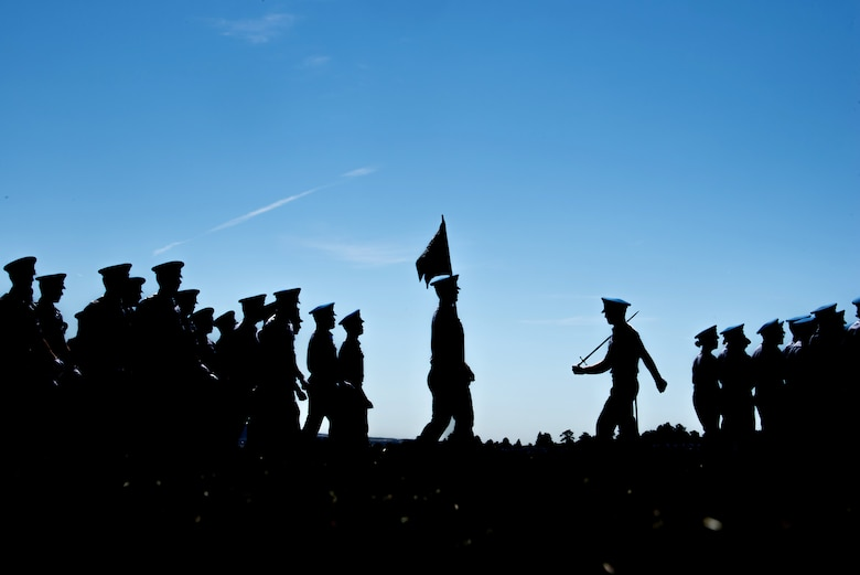 Cadets participate in an acceptance-day parade
