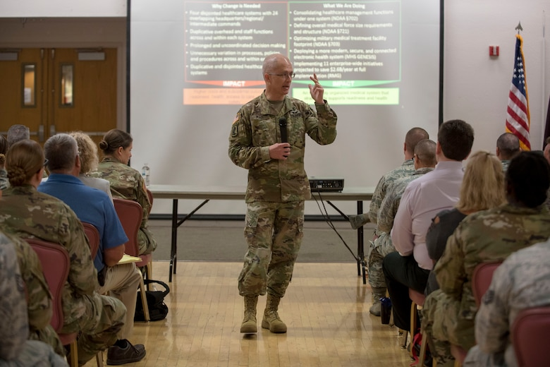 Maj. Gen. Ronald Place, Defense Health Agency acting assistant director for healthcare administration, briefs 49th Medical Group Airmen on the DHA transition, Aug. 8, 2019, on Holloman Air Force Base, N.M. Place visited to ensure 49 MDG Airmen understand how the changes will affect medical group operations. (U.S. Air Force photo by Staff Sgt. Christine Groening)