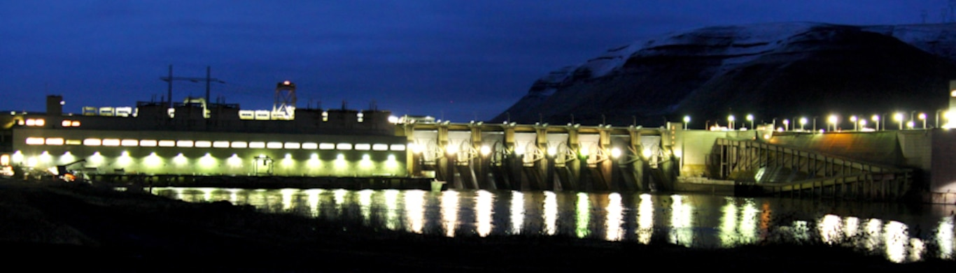 Lower Monumental Lock and Dam at night