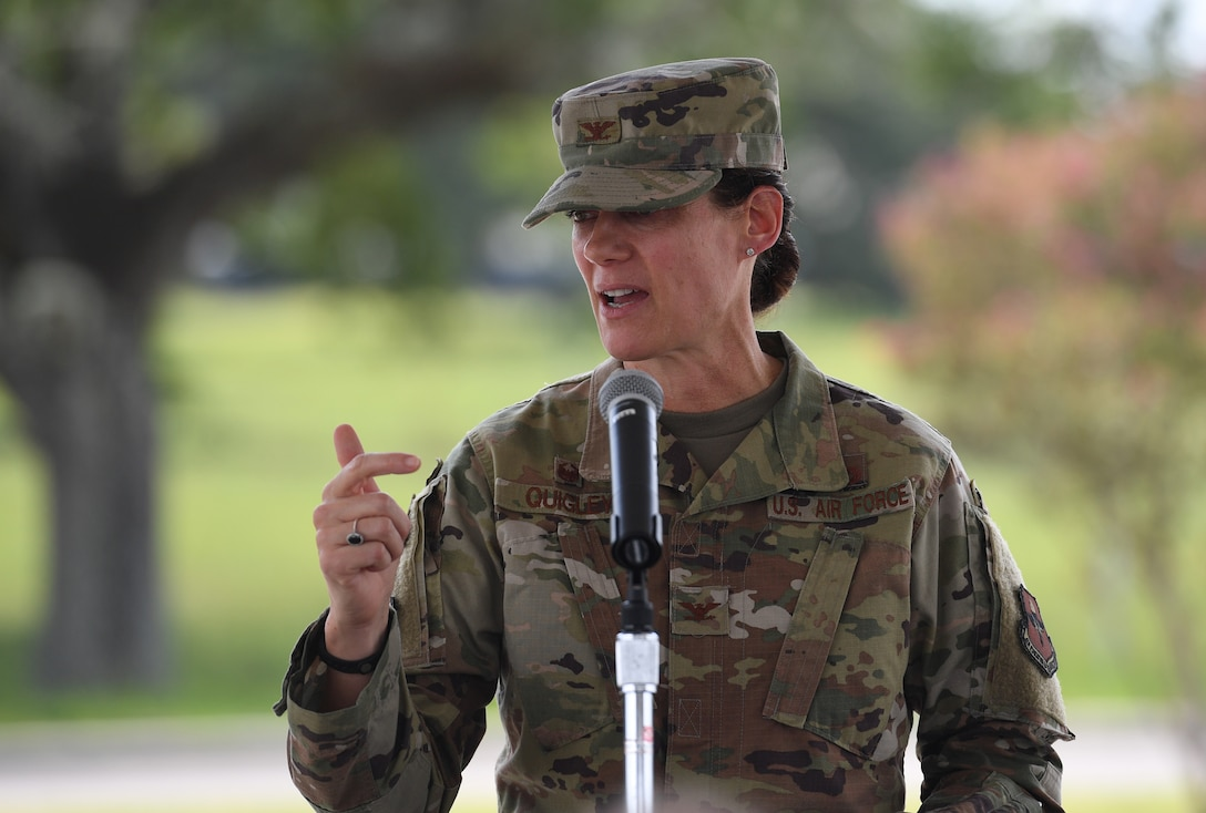 U.S. Air Force Col. Marcia Quigley, 81st Mission Support Group commander, delivers remarks during a groundbreaking ceremony at the commissary parking lot on Keesler Air Force Base, Mississippi, Aug. 8, 2019. The ceremony introduced the project with NORESCO United Technologies, which will provide 497 solar panels on the exchange and commissary parking lot generating over 2 million kilowatts annually, as well as providing shade and shelter from inclement weather to the parked cars. It is scheduled for completion in May 2021. (U.S. Air Force photo by Kemberly Groue)