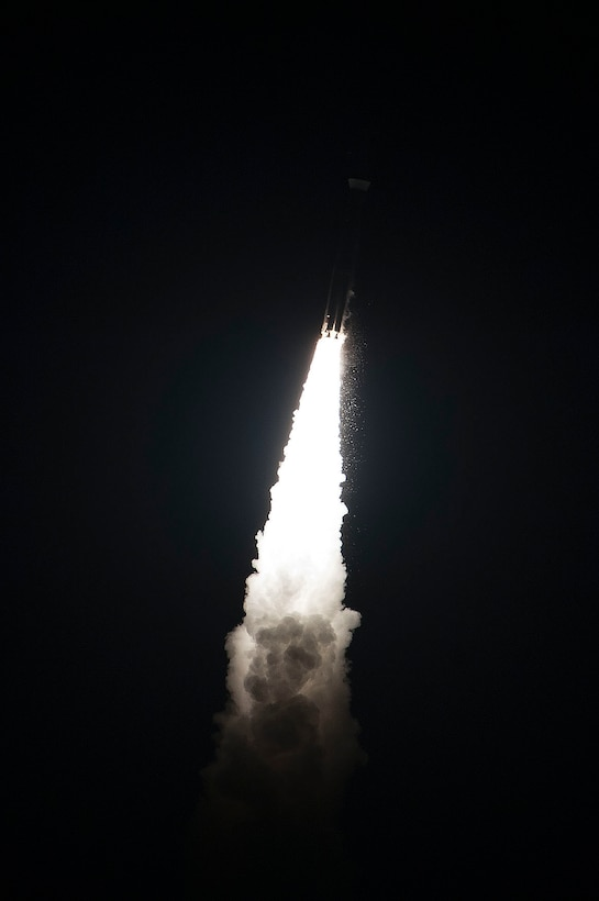 An Atlas V AEHF-5 rocket launches from Cape Canaveral Air Force Station, Fla., August 8, 2019. Previously, the Atlas V rocket has launched Advanced Extremely High Frequency communication satellites from CCAFS in 2010, 2012, 2013, and 2018. (U.S. Air Force photo by Taylor Nave)