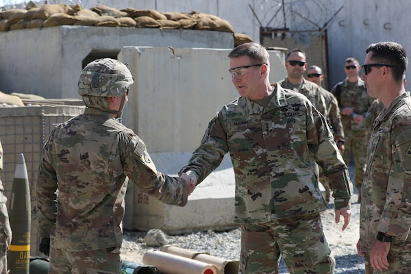 Gen. James McConville, right, vice chief of staff of the Army, greets a 4th Infantry Division Soldier in Laghman Province, Afghanistan, Oct. 27, 2018. McConville, who was sworn in as the Army's 40th chief of staff on Aug. 9, 2019, said he plans to put people -- Soldiers, Army civilians and family members -- first as he ensures the Army is ready to fight now while at the same time being modernized for the future fight.