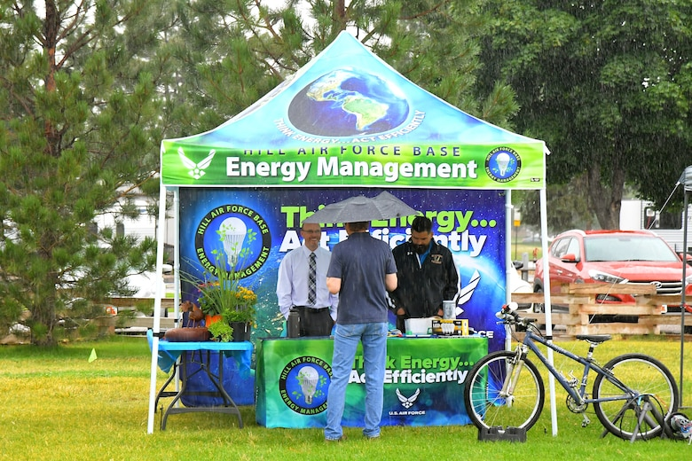 The Energy Management booth during the Kickin' It for Conservation energy and environmental fair Aug. 8, 2019, at Hill Air Force Base, Utah. Although officially celebrated in April, the event served as the base's commemoration of Earth Day and was an opportunity for children and adults to learn how to conserve energy and protect the environment. (U.S. Air Force photo by Todd Cromar)
