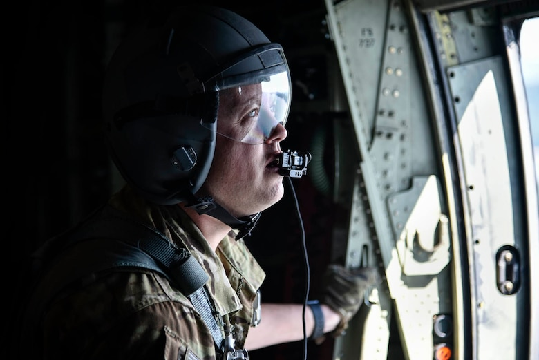 Tech. Sgt. William Mcleod, 327th Airlift Squadron loadmaster, conducts pre-flight checks before take-off as part of the Turkey Shoot competition August 7, 2019, at Little Rock Air Force Base, Ark. The Turkey Shoot is a multi-event test which evaluates all aspects of combat airlift such as threat mitigation, container delivery system airdrops, assault landings and loading and offloading vehicles. The majority of our Reserve members must meet the same requirements of Active Duty personnel. This entails balancing a fulltime civilian job or college studies while maintaining their military readiness. (U.S. Air Force Reserve photo by Senior Airman Nathan Byrnes)