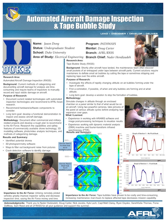 Jason Dong, who will be a sophomore at Duke University this fall and is completing his third year working at AFRL through the student research program and his first year working with AFRL's Materials Affordability Team. His poster centered around his research on automated aircraft damage inspection and the Tape Bubble Study he participated in this summer. (U.S. Air Force graphic/Jason Dong)