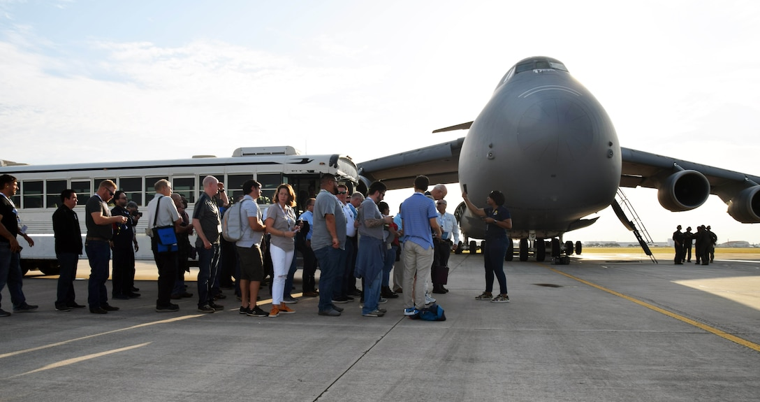 Employers of 433rd Airlift Wing Reserve Citizen Airmen prepare to board a C-5M Super Galaxy at Joint Base San Antonio-Lackland, Texas Aug. 3, 2019.