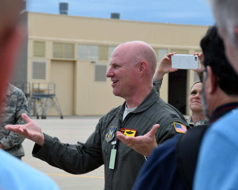 Col. Miles Heaslip, 507th Air Refueling Wing commander, talks to a group of employers of 433rd Airlift Wing Reserve Citizen Airmen at Tinker Air Force Base, Oklahoma, Aug. 3, 2019.