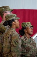 Airmen sing the national anthem at the 56th Mission Support Group change of command July 29, 2019, at Luke Air Force Base, Ariz.