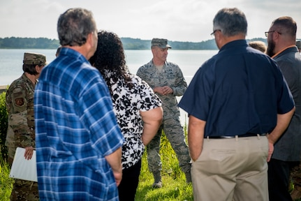 Joint Base Langley-Eustis leadership give Native American chiefs a tour of the installation at JBLE, Virginia, Aug. 8, 2019.