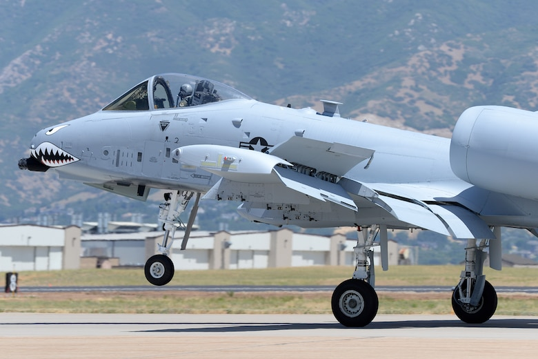 Lt. Col. Ryan Richardson, 514th Flight Test Squadron commander and A-10 test pilot, rolls out after landing following a functional check flight on an A-10 Thunderbolt II, tail no. 80-0252, at Hill Air Force Base, Utah, July 25, 2019. The aircraft is from the Moody Air Force Base, Georgia, home of the 23d Wing Flying Tigers, a unit that traces its heritage back to the Flying Tigers of WWII that painted sharks teeth on the nose of the P-40 Warhawk fighter planes they flew. The aircraft was the last of 173 A-10s to receive new wings under the Enhanced Wing Assembly program to extend the flying service life of the fleet. (U.S. Air Force photo by Alex R. Lloyd)