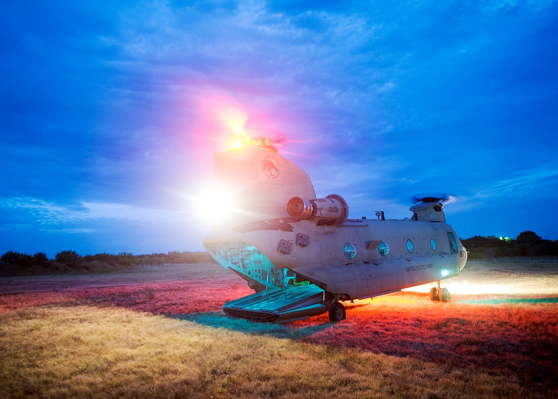 A CH47-Chinook prepares to take off from a landing zone, during a certification field exercise (CFX), July 29, 2019, at Camp Bowie Training Center, Texas. The CFX was designed to evaluate the squadron's overall tactical ability and readiness to provide the U.S. Army with full spectrum environmental support to the Joint Task Force (JTF) fight. (U.S. Air Force photo by Airman 1st Class Eugene Oliver)