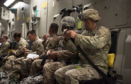 U.S. Army Soldiers strap into a C-17 Globemaster III, assigned to the 437th Airlift Wing, in preparation for aerial operations during Exercise Dragon Lifeline August 8, 2019, at Joint Base Charleston, S.C. The deployment readiness exercise combined the capabilities of service members from Fort Bragg, N.C., Joint Base Charleston, S.C., and Joint Base Langley-Eustis, Va., and focused on the rapid deployment of equipment, vehicles and personnel. Participants shared knowledge and tested their efficiency in moving assets by air, land, rail and sea during the training event. The annual exercise is just one of the critical readiness exercises the DOD conducts to maintain a lethal and ready force. (U.S. Air Force photo by Staff Sgt. Tenley Long)