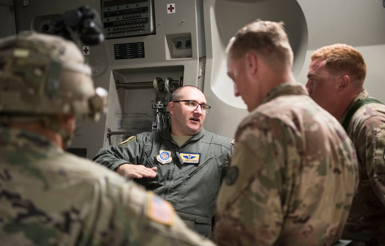 U.S. Air Force Tech Sgt. Scott Stueven, a load master assigned to the 437th Operations Group, rallies with U.S. Army Soldiers during Exercise Dragon Lifeline August 8, 2019, Joint Base Charleston, S.C. The exercise provided military personnel with experience needed to support rapid deployment operations across air, land, rail and sea. JB Charleston helps to provide rapid global deployment of personnel and equipment to deployed locations across the globe. The annual exercise is just one of the critical readiness exercises the DOD conducts to maintain a lethal and ready force. (U.S. Air Force photo by Staff Sgt. Tenley Long)