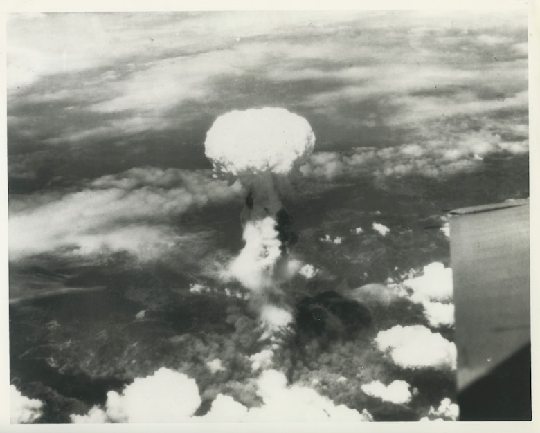 "The mushroom cloud blooms after the 509th Composite Group dropped the atomic bomb nicknamed ""Fat Boy"" on August 9, 1945, over Nagasaki, Japan. (Courtesy photo)"