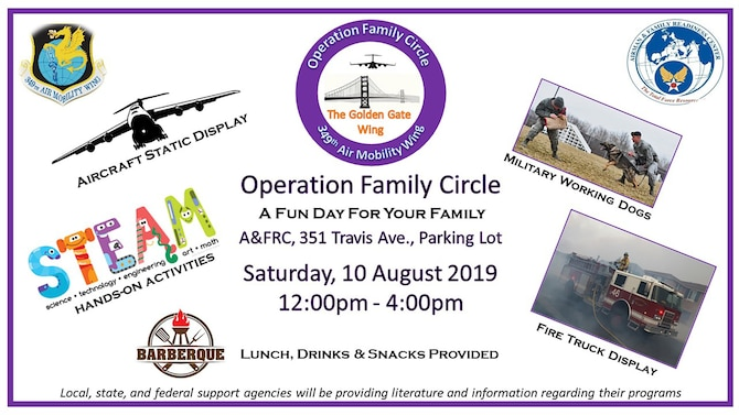 349th Air Mobility Wing invites family for a day of learning, fun at Operation Family Circle events, August 10, 2019, Travis Air Force Base Airmen & Family Readiness Center.