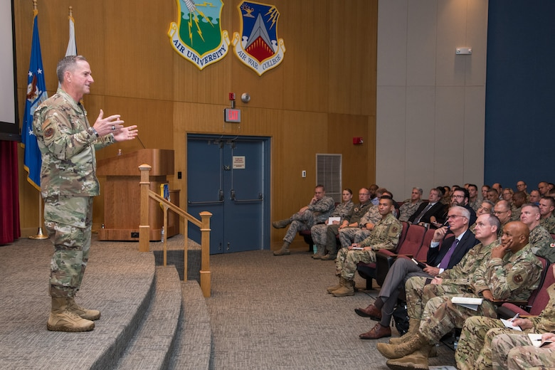 Air Force Chief of Staff Gen. David L. Goldfein speaks to the incoming Air War College class during his visit to Air University Aug. 7, 2019, at Maxwell Air Force Base, Alabama. Goldfein provided guidance for what he wants the students to accomplish and focus on during their time at the AWC. (U.S. Air Force photo by William Birchfield)