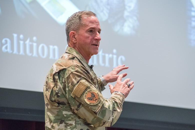 Air Force Chief of Staff Gen. David L. Goldfein speaks to the incoming Air War College class during his visit to Air University Aug. 7, 2019, at Maxwell Air Force Base, Alabama. Goldfein challenged the students to accomplish three tasks while at AWC: to re-blue, reconnect and recharge. (U.S. Air Force photo by William Birchfield)