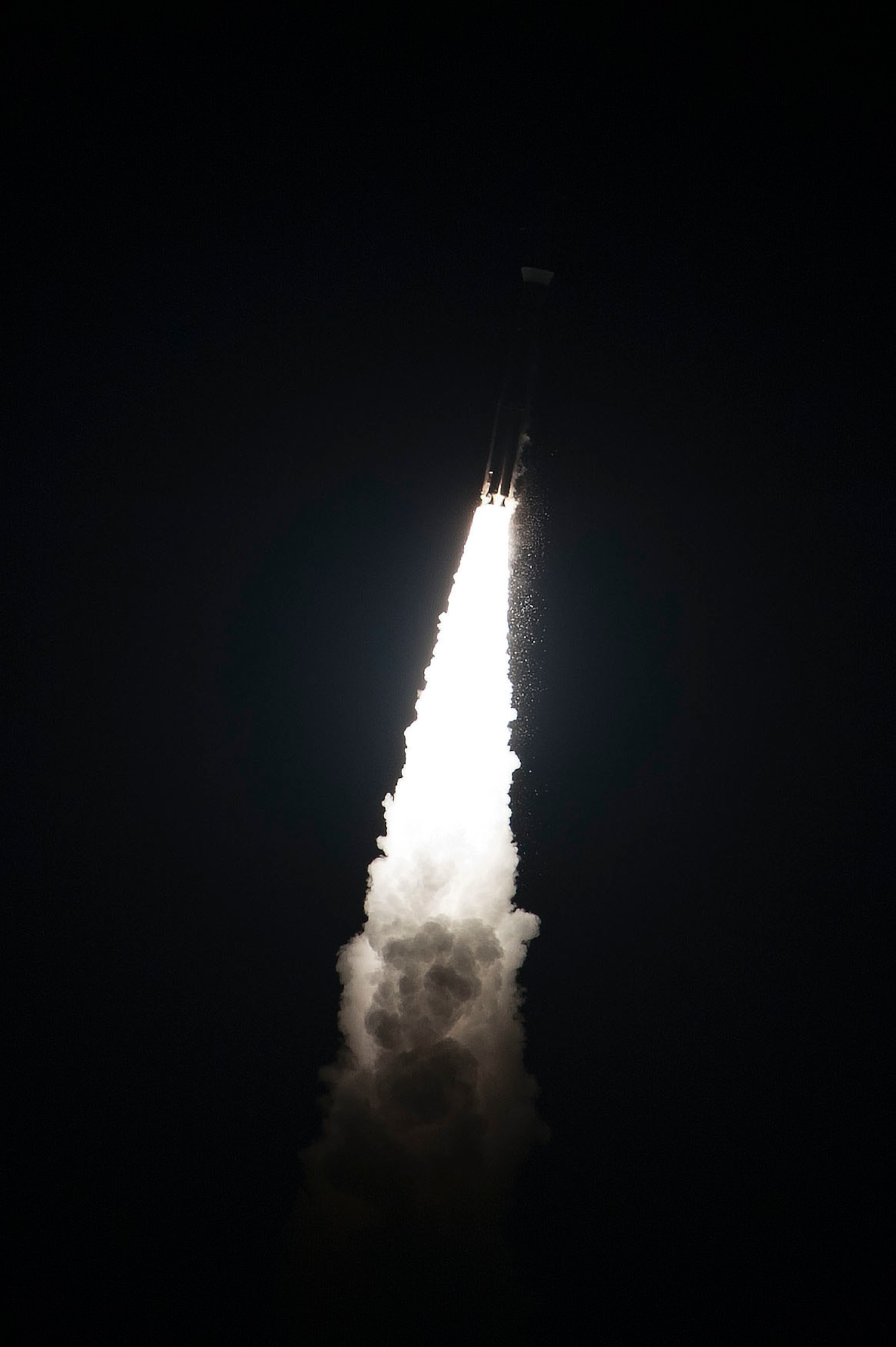 An Atlas V rocket carries the Fifth Advanced Extremely High Frequency satellite toward space Aug. 8, 2019, after being launched from Cape Canaveral Air Force Station, Fla. In April, Airmen assigned to Travis Air Force Base, California, transported the satellite to Florida. The satellite will provide enhanced communications for high-priority military assets. (U.S. Air Force photo by Taylor Nave)