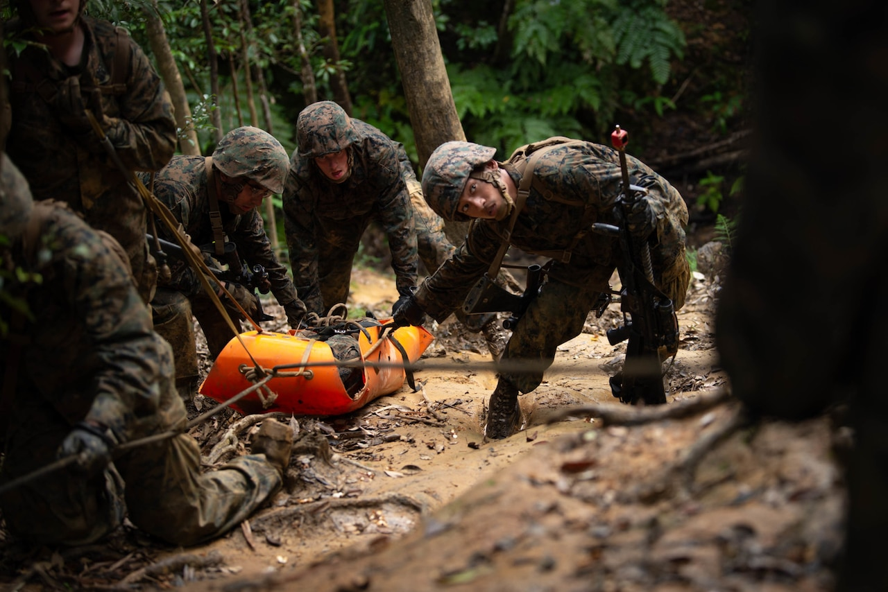 Corpsmen drag a patient through the jungle