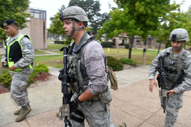 Members of the installation participate in an active shooter exercise Aug. 7, 2019, at Vandenberg Air Force Base, Calif.