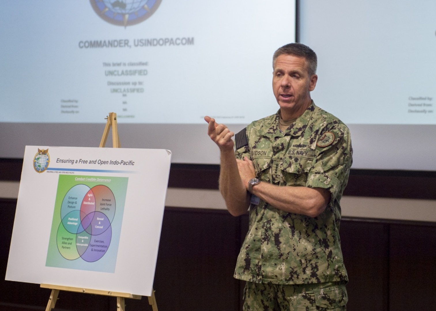 CAMP SMITH, Hawaii (Aug. 7, 2019) – Commander U.S. Indo-Pacific Command (USINDOPACOM), Adm. Phil Davidson, speaks at the Strategic Discussions on U.S. Support of Health and Healthcare in Oceana Conference hosted by the University of Hawaii and USINDOPACOM. University of Hawaii and USINDOPACOM brought together more than 100 regional and healthcare professionals from the military, Center for Disease Control, USAID, and other organizations to discuss issues ranging from infectious diseases, food security, training, and medical infrastructure in the region.