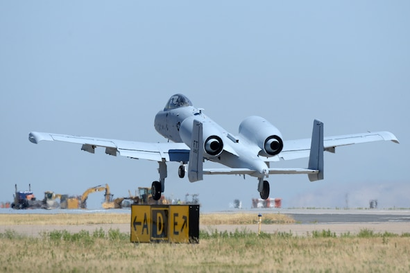 Lt. Col. Ryan Richardson, 514th Flight Test Squadron commander and A-10 test pilot, takes off during a functional check flight of an A-10 Thunderbolt II, tail no. 80-0252, at Hill Air Force Base, Utah, July 25, 2019. The aircraft was the last of 173 A-10s to receive new wings under the Enhanced Wing Assembly program to extend the flying service life of the fleet. (U.S. Air Force photo by Alex R. Lloyd)