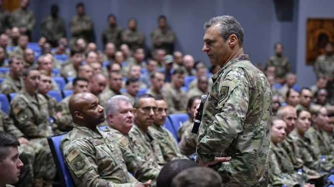 U.S. Air Force Lt. Gen. Joseph T. Guastella, U.S. Air Forces Central Command commander, addresses base personnel about their contribution to the mission and resiliency during a visit to Ali Al Salem Air Base, Kuwait, Aug. 8, 2019. AFCENT leadership visited the 386th Air Expeditionary Wing to discuss how each Airman's role contributes to the mission, to take questions and address concerns. (U.S. Air Force photo by Staff Sgt. Mozer O. Da Cunha)