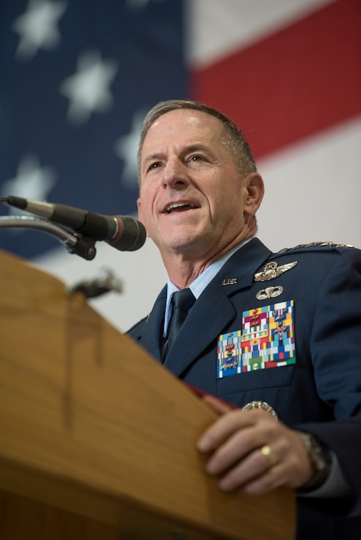 "Gen. David L. Goldfein, Air Force chief of staff, speaks during a ceremony recognizing Lt. Col. John ""J.T."" Hourigan, a pilot for the 123rd Airlift Wing, during a ceremony at the Kentucky Air National Guard Base in Louisville, Ky., Aug. 10, 2019. Hourigan was awarded the Distinguished Flying Cross for preventing a catastrophic, in-flight mishap that would have resulted in the loss of aircraft and crew if not for his decisive action. (U.S. Air National Guard photo by Staff Sgt. Joshua Horton)"