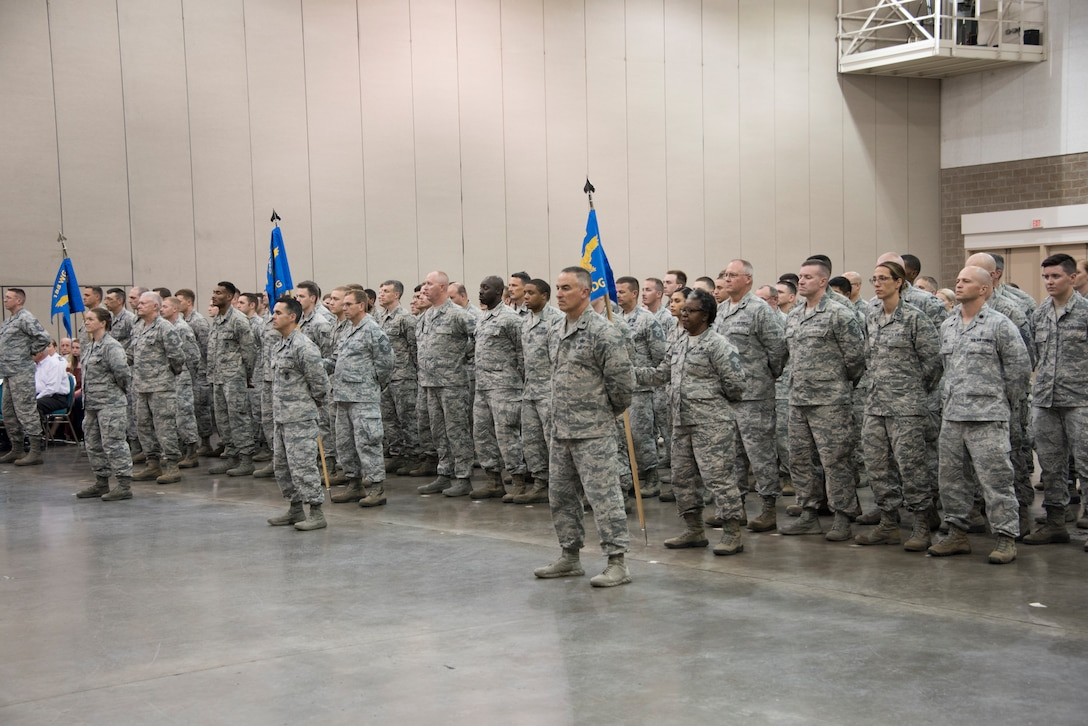 Members of the 188th Wing stand in formation during a change of command ceremony at Fort Smith, Ark., Aug. 11, 2019. The change of command is a military tradition signified with the passing of the unit's guidon flag from one commander to the next. (U.S. Air National Guard photo by Tech. Sgt. John E. Hillier)