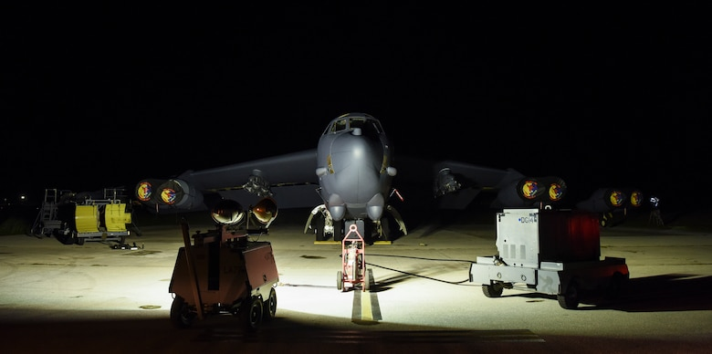 A 69th Expeditionary Bomb Squadron B-52 Stratofortress  is shown on the flightline on Andersen Air Force Base, Guam, Aug. 7, 2019.