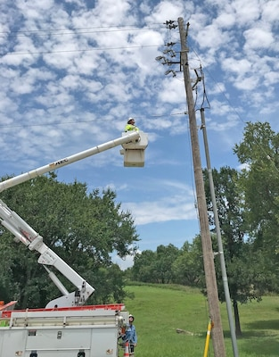 repairing a leaning electric pole