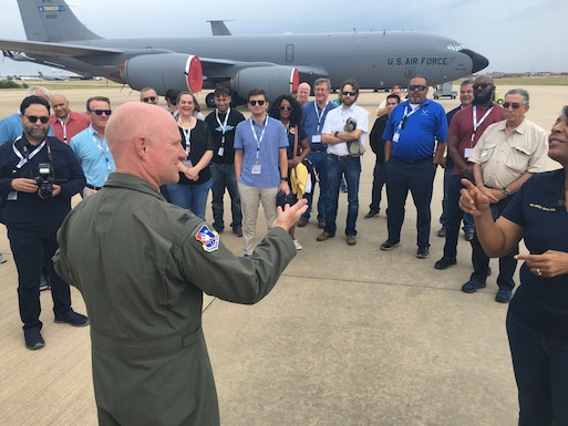 The 507th Air Refueling Wing Commander, Col. Miles Heaslip, speaks to employers of 433rd Airlift Wing Reserve Citizen Airmen at Tinker Air Force Base, Oklahoma, Aug. 3, 2019. The employers, from the San Antonio, Texas, area, were on an Employer Support of Guard and Reserve's Bosslift tour. (U.S. Air Force photo by 2nd Lt. Callie McNary)