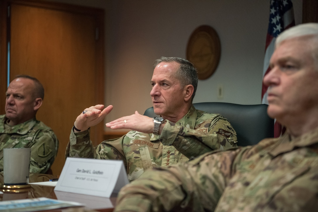 Air Force Chief of Staff Gen. David L. Goldfein learns about the unique mission capabilities of the 123rd Airlift Wing during a visit to the Kentucky Air National Guard base in Louisville, Ky., Aug. 10, 2019. The wing is home to a special tactics squadron and the only contingency response group in the Air National Guard. (U.S. Air National Guard photo by Staff Sgt. Joshua Horton)