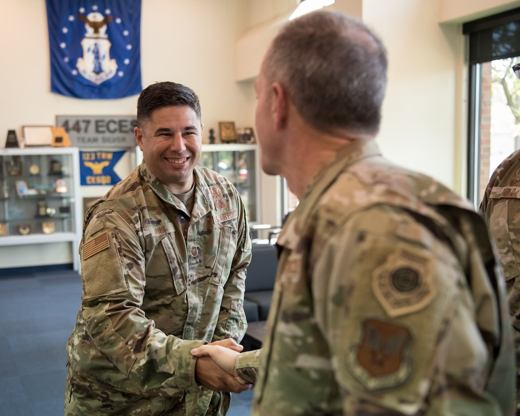 Air Force Chief of Staff Gen. David L. Goldfein greets Master Sgt. Matthew Wilt, a 123rd Explosive Ordnance Disposal Flight Airman, during a tour of the Kentucky Air National Guard Base in Louisville, Ky., Aug. 10, 2019. In addition to C-130 airlift and EOD, the base is home to a special tactics squadron and the only contingency response group in the Air National Guard. (U.S. Air National Guard photo by Staff Sgt. Joshua Horton)