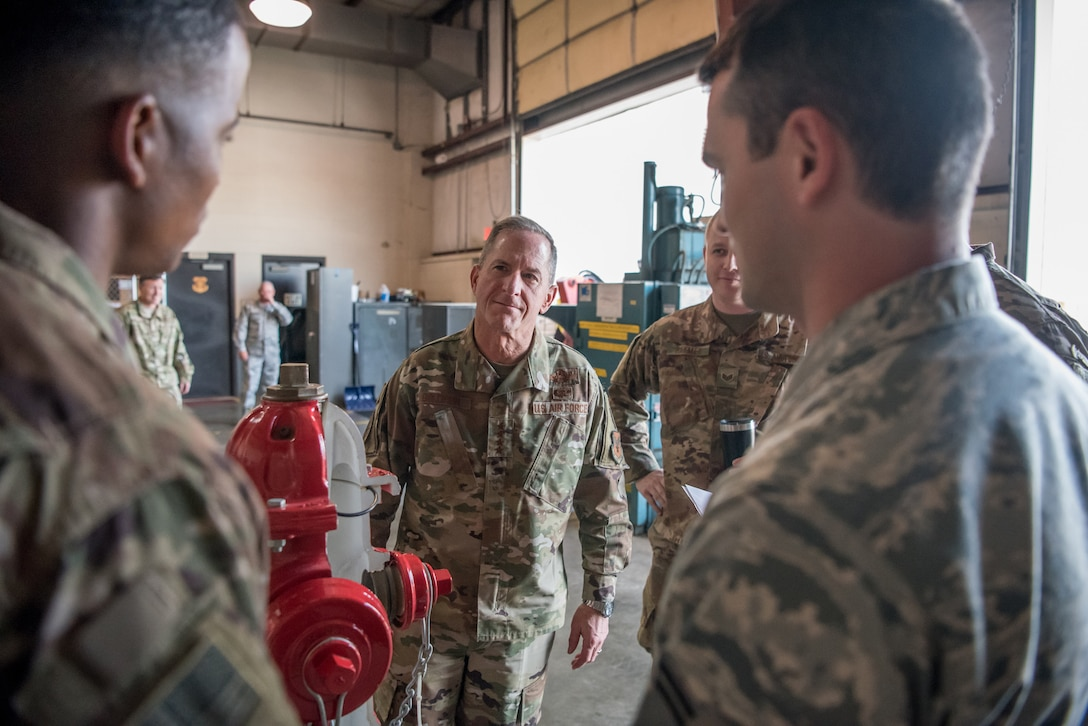 Air Force Chief of Staff Gen. David L. Goldfein speaks with Airmen as he tours the Kentucky Air National Guard base in Louisville, Ky., Aug. 10, 2019. During his visit, Goldfein saw various work centers, learning about the unique mission sets of the 123rd Airlift Wing. (U.S. Air National Guard photo by Staff Sgt. Joshua Horton)