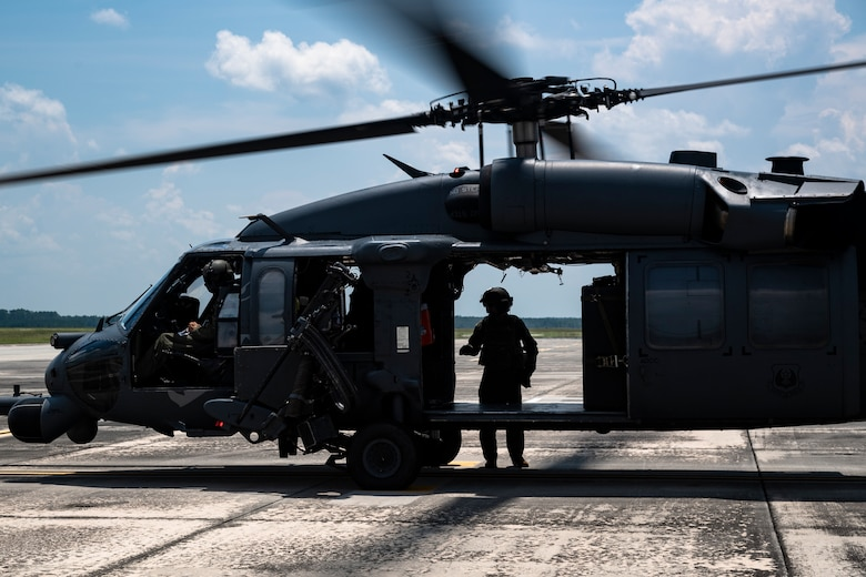 U.S. Air Force Maj. Gen. Chad Franks, Ninth Air Force commander, exits an HH-60G Pave Hawk at Moody Air Force Base, Ga., Aug. 8, 2019. It was Franks' initial flight in the Ninth Air Force commander's flagship aircraft, an HH-60G Pave Hawk assigned to the 41st Rescue Squadron. Franks, who on separate occasions served as the commander for the 23d Wing and 347th Rescue Group, is a command pilot with more than 3,300 hours in multiple aircraft including HC-130J Combat King II and HH-60G Pave Hawk. (U.S. Air Force photo by Airman 1st Class Taryn Butler)