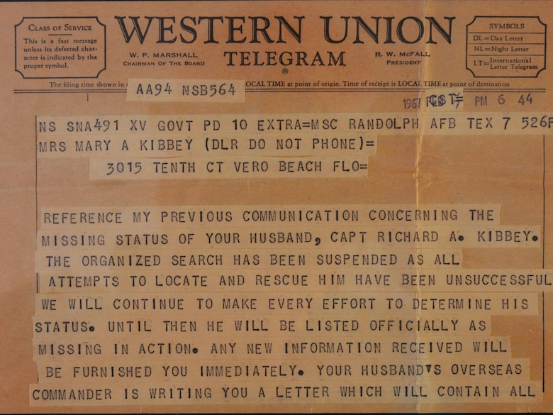 The telegram that Mary Ann Kibbey recieved from the U.S. Air Force once her husband's status was officially listed as missing in action. (Photo courtesy of Richard Kibbey)
