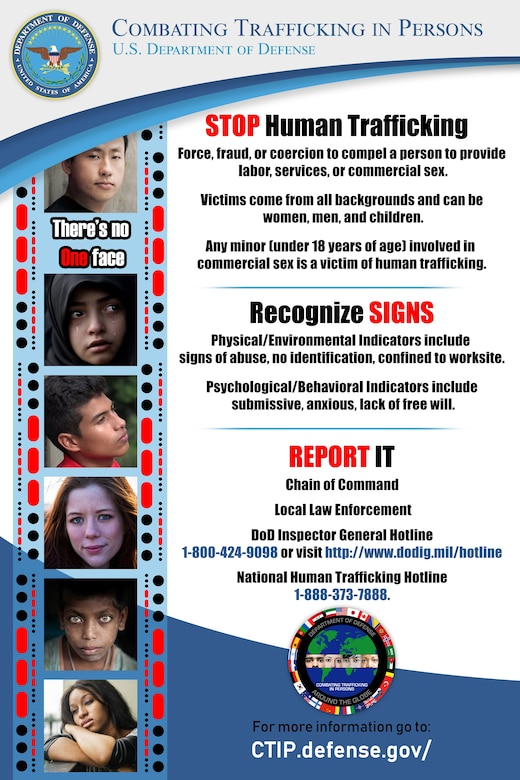 Combating Trafficking in Persons poster. (Courtesy of Department of Defense)