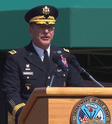 Army Gen. James C. McConville speaks during a ceremony at Joint Base Myer-Henderson Hall, Virginia, Aug. 9 in which he succeeded Army Gen. Mark A. Milley as Army chief of staff.