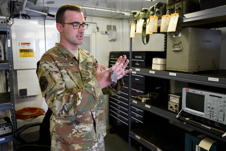 U.S. Air Force Staff Sgt. William Lucas, radar airfield weather systems technician with the 235th Air Traffic Controller Squadron, demonstrates the use of tactical radar equipment in New London, N.C., Aug. 3rd, 2019. The North Carolina Air National Guard, along with New Hampshire and Maine Air National Guard, flew to Ramstein Air Base, Germany to work with active duty 1st Combat Communications Squadron. The Air National Guard units assisted in training the active duty unit with set-up, use, and tear-down of a mobile tower and deployable tactical air navigation system.