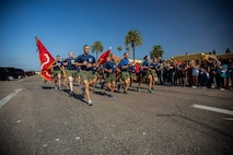 The new Marines of India Company, 3rd Recruit Training Battalion, conduct a motivational run at Marine Corps Recruit Depot San Diego, Aug. 8.