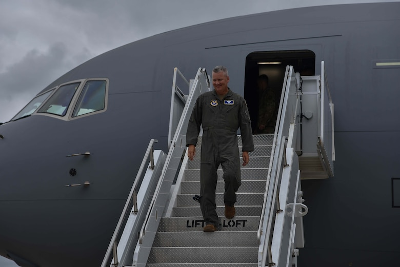 Maj. Gen. James Jacobson, Headquarters Air Force director of training and deputy chief of staff for operations, plans and requirements, departs the 9th KC-46A Pegasus delivered August 9, 2019, at McConnell Air Force Base, Kan. McConnell has now received nine out of 36 KC-46's that will be delivered to the base. (U.S. Air Force photo by Airman 1st Class Marc A. Garcia)