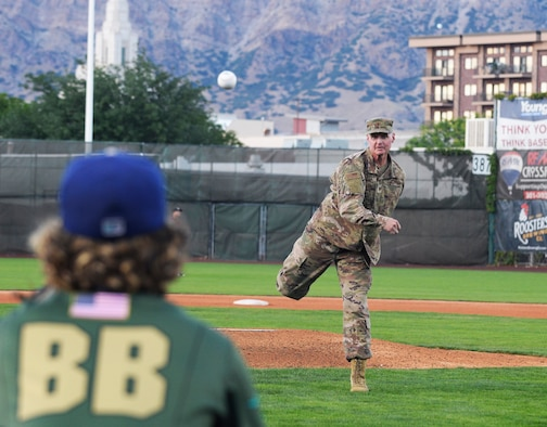 Col. Jon Eberlan, 75th Air Base Wing commander, throws the ceremonial first pitch b Aug. 9, 2019, before Military Appreciation Night with the Ogden Raptors and Idaho Falls Chuckars at Lindquist Field in Ogden, Utah. Each year, the Raptors and Top of Utah Military Affairs Committee offer tickets to Hill Air Force Base personnel and their families. (U.S. Air Force photo by David Perry)