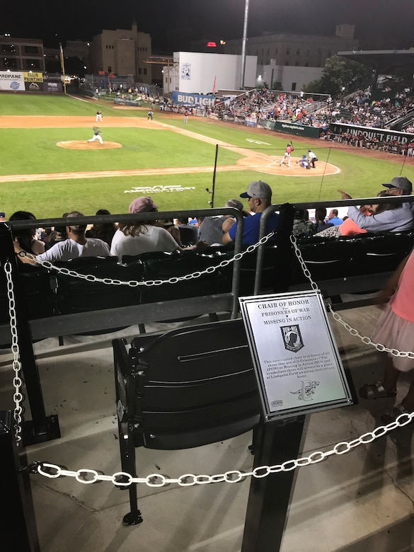 The POW/MIA chair of honor at Lindquist Field in Ogden, Utah. The chair was dedicated Aug. 9, 2019, during Military Appreciation Night with the Ogden Raptors and Idaho Falls Chukars to symbolize that there will always be a place at Lindquist Field awaiting the return home of the nation's POWs/MIAs. (U.S. Air Force photo by David Perry)