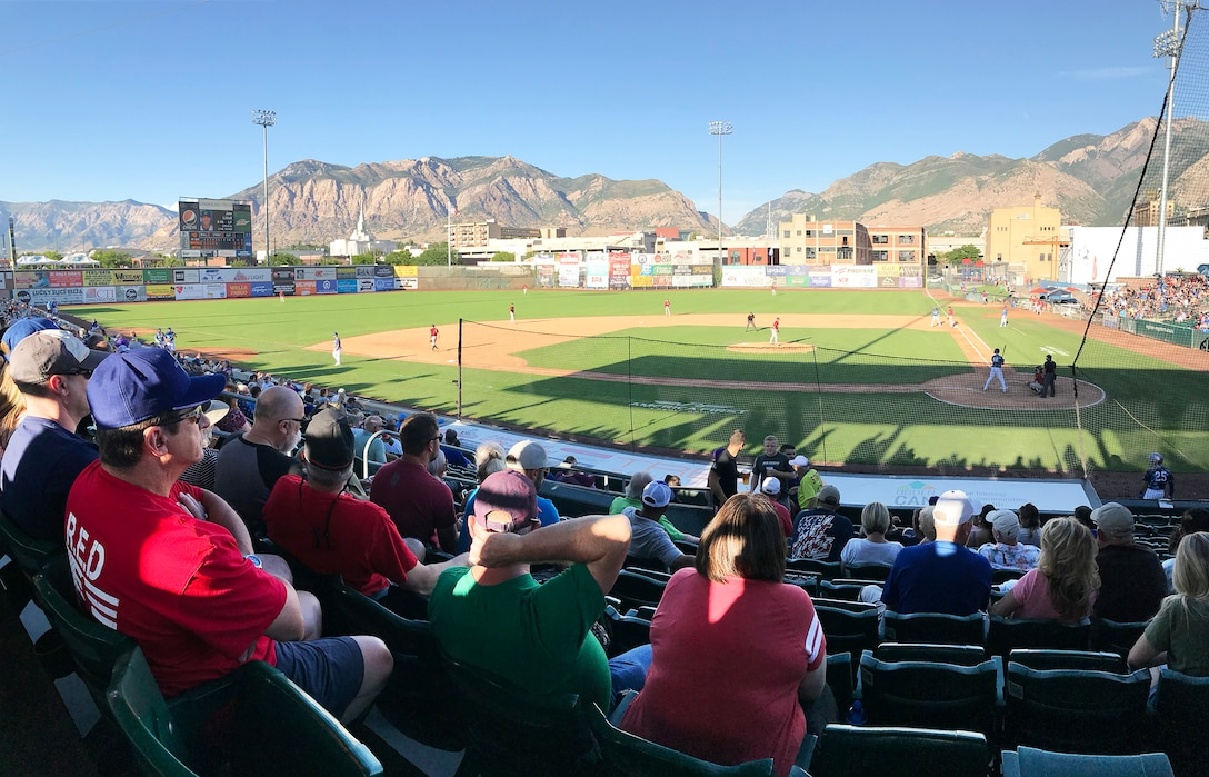 Fans at Military Appreciation Night with the Ogden Raptors and Idaho Falls Chuckars Aug. 9, 2019, at Lindquist Field in Ogden, Utah. Each year, the Raptors and Top of Utah Military Affairs Committee offer tickets to military personnel and their families. (U.S. Air Force photo by David Perry)