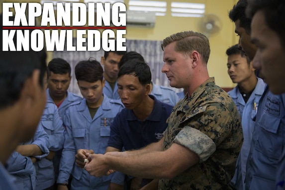 U.S. Marine Corps Sgt. Matthew K. Sponagle explains the components of the Advanced Ordnance Teaching Material during Explosive Ordnance Disposal (EOD) Level 2 instruction for EOD Technicians with Cambodian Mine Action Center during Humanitarian Mine Actions (HMA) Cambodia in Kampong Chhnang, Cambodia, Aug 1, 2019. HMAs are reoccurring events that instruct partner nations' on tactics, techniques and procedures. This instruction on EOD and tactical combat casualty care capabilities will save lives and relieve human suffering. Sponagle, a native of Reading, Pennsylvania, is an Explosive Ordnance Disposal Technician with 3rd EOD Co., 9th Engineer Support Battalion, 3rd Marine Logistics Group. (U.S. Marine Corps photo by Sgt Stephanie Cervantes)