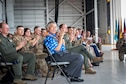 Governor of Hawaii, David Ige, observes an assumption of command ceremony Aug. 4, 2019, at Joint Base Pearl Harbor-Hickam.